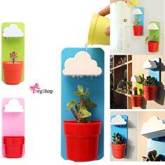 Que tal uma nuvenzinha para o seu vaso?  Coisa linda!  Disponível em: www.ivyshop.com.br #vaso #chuvoso #decoração #casa #jardim #vertical #nuvem #criativos #inusitados #design #interiores #fofurice #fofurinha #enxoval #varanda #flores #plantas #presentes