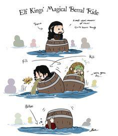Elf Kings' Magical Barrel Ride by caycowa ...  Kili, dwarf, The Hobbit, Tolkien, Bilbo Baggins, Thorin Oakenshield, Fili, Bilbo, Thorin, hobbit