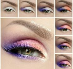 95 Super Stylish DIY Summer Eye Makeup Tutorials to Take Care of All Your Summer Dress-Up Classic Summer Morning Inspired Fun Eye Makeup Tutorial Orange Pinks and Purples Pretty Ideas - Das schönste Make-up Pretty Makeup, Love Makeup, Diy Makeup, Makeup Inspo, Makeup Inspiration, Makeup Tips, Makeup Looks, Makeup Tutorials, Makeup Ideas