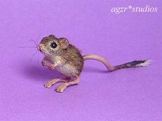 OOAK 1:12 Dollhouse Miniature Jerboa Jaculus Mouse Kangaroo Rat Furred Handmade