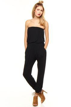 Bobi Everyday Strapless Jumpsuit - Black
