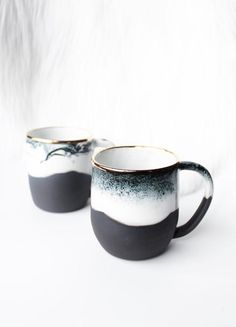 Handmade Ceramic Mugs With Gold Detail | clearblurdesign on Etsy