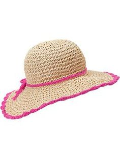 Scallop-Trim Straw Sun Hats for Baby  --can pull double duty, first as an Easter hat then as a beach and garden hat!!