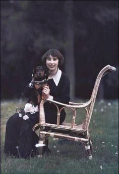 Miss Mary Louise Beer with her dog in 1912.