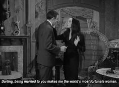 Morticia and Gomez Addams The Addams Family 1964, Addams Family Tv Show, Adams Family, Gomez And Morticia, Morticia Addams, Hysterically Funny, Dark Love, Dark Thoughts, Old Hollywood Stars
