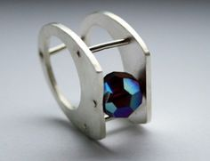 NO NAME - SILVER RING WITH BLUE DIAMOND