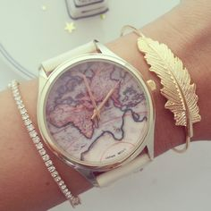 #FairfieldGrantsWishes Antique world map watch in off white or brown