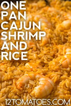 One pan cajun shrimp and rice is an ideal weeknight dinner. Yellow Rice And Shrimp Recipe, Shrimp And Rice Dishes, Yellow Rice Recipes, Shrimp And Rice Recipes, Cajun Dishes, Rice Recipes For Dinner, Cajun Recipes, Seafood Dishes, Seafood Recipes