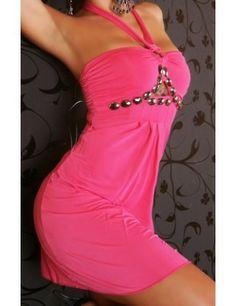 Purple OR Pink Halter Metal Detailed Mini Dress Tb Dress, Pink Sweater Dress, Club Dresses, Sexy Dresses, Casual Dresses, Party Wear, Party Dress, Backless Mini Dress, Work Dresses For Women