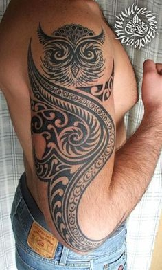 tribal-owl-tattoo-design-for-men-on-sleeve ~ http://heledis.com/some-of-the-owl-tattoo-design/