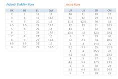 Puma Kids Shoes Size Chart