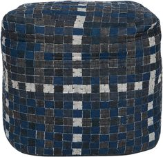 Mancave Pouf!  Use this square pouf with a checkerboard pattern in denim, white and charcoal to rest your feet after a long taxing day.