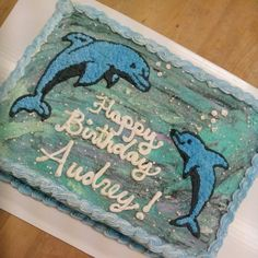 Undersea dolphin cake with buttercream decoration
