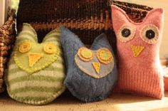 Sweet little owls from felted sweaters!