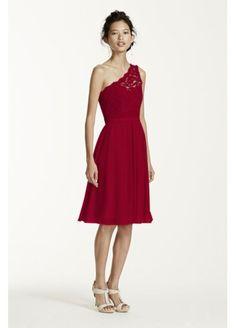 Short One Shoulder Corded Lace Dress F15711 $209.09  F17063 is long version  http://www.davidsbridal.com/Product_short-one-shoulder-contrast-corded-dress-f15711