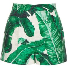 Dolce & Gabbana Banana leaf-print cotton and silk-blend shorts ($915) ❤ liked on Polyvore featuring shorts