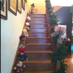 Visitors always like the way I decorate my staircase at Christmas every year. I do the same thing at Easter with stuffed rabbits.