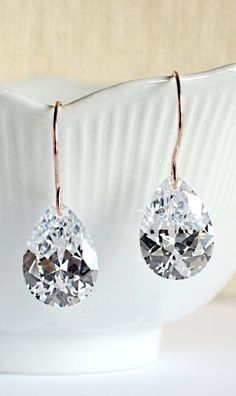 Rose gold earrings large cubic zirconia dangle