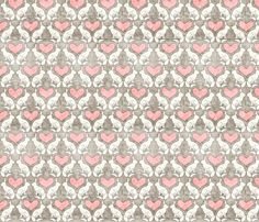 vintage_rabbit_pink fabric by holli_zollinger on Spoonflower - custom fabric