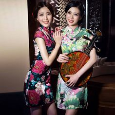 Chinese Traditional Dress Summer Style Fashion Vintage Cheongsam Qipao Elegant Short Printed Party Dress Women Clothing