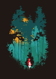 Red Riding Hood. Love the layout with the wolf's face as the forest!