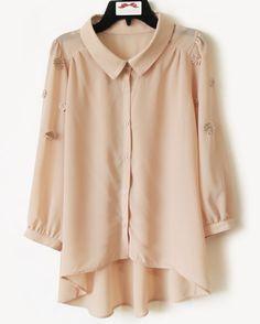 Pink long sleeve irregular chiffon button down shirt  46.8