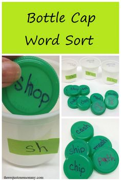 simple word sort activity with plastic bottle caps