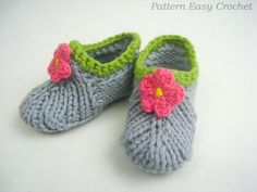 Baby slippers knitting pattern digital - seamless that is very convenient - instant download via Etsy