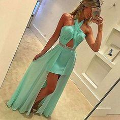 Unique mint green prom dress, chiffon long prom dress, halter cross formal dress
