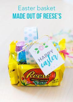Mini Candy Easter Baskets – made from Reese's eggs!  These  are adorable and delicious little baskets that are easy to make and are certain to put a smile on everyone's face!