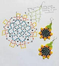 Beaded Flowers Patterns, Beaded Earrings Patterns, Beading Patterns, Seed Bead Jewelry, Bead Jewellery, Seed Bead Earrings, Brick Stitch Earrings, Sunflower Pattern, Handmade Beaded Jewelry