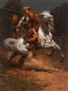 """Andy Thomas """"Johnny Saved the Girl"""" western art print on canvas by artist Andy Thomas Girl Artist, Art Girl, Westerns, West Art, Cowboy Art, Le Far West, Realism Art, Equine Art, Mountain Man"""