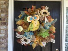 Fall Owl Wreath, Fall deco mesh wreath, Sunflower wreath, Fall mesh wreath, Front door wreath, Owl mesh wreath by ShellysChicDesigns on Etsy https://www.etsy.com/listing/242423531/fall-owl-wreath-fall-deco-mesh-wreath