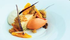"""Satsuma """"Creamsicle"""" Carrot Cake, Whipped Buttermilk and Carrot Sorbet"""