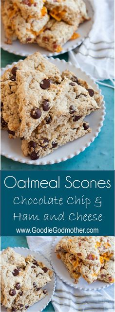 Oatmeal Scones Two Ways - Recipes for ham and cheese oatmeal scones and chocolate chip oatmeal scones. These are great to make in advance and freeze for easy, heat and go breakfasts later! Made with @bobsredmill #BRMOats * GoodieGodmother.com