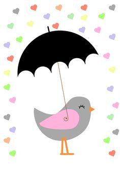 #ptakpodparasolką #bird #heart #umbrella #plakatdopokojudziecka