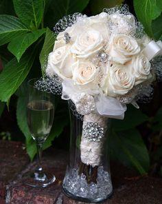 DEPOSIT for Real Rose  with Brooch Vintage Victorian Medium Bridal Bouquet. $100.00, via Etsy.