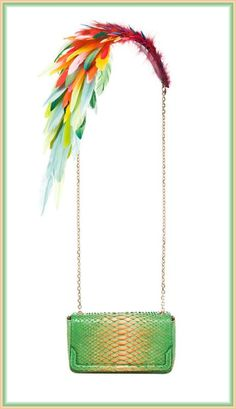 Christian Louboutin Artemis Plumes Bag: Bird of Paradise....I don't want it, but it's just too eye-catching not to pin!