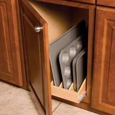Omega National Products - Omega National KitchenMate Rollout for Base Cabinet - 3 Dividers (Maple) - The Hardware Hut Kitchen Base Cabinets, Built In Cabinets, Custom Cabinets, Inside Cabinets, Kitchen Organization, Kitchen Storage, Kitchen Hacks, Kitchen Decor, Kitchen Stuff