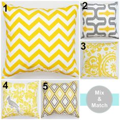 BIG SALE White Yellow Designer Throw Pillow by TheDesignerTouch, $11.19