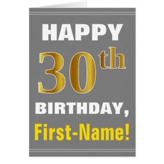 Bold Gray Faux Gold 30th Birthday w/ Name Card - toddler youngster infant child kid gift idea design diy