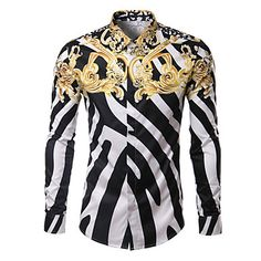 Мужской+С+принтом+Рубашка+На+каждый+день+/+Для+офиса+/+Для+торжеств+и+мероприятий,Хлопок+/+Смесь+хлопка,Длинный+рукав,Несколько+цветов+–+RUB+p.+2+731,10