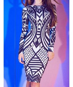 Sexy Round Neck Long Sleeve Printed Bodycon Dress For Women