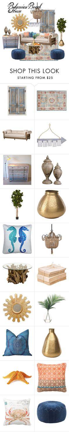 """Bohemian Beach House"" by cknott on Polyvore featuring interior, interiors, interior design, home, home decor, interior decorating, Pier 1 Imports, Dot & Bo, NKUKU and Pillow Decor"