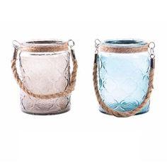 Porta Velas de Cristal cuerda Grabado 2 colores (9x13 cm)