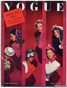 Vogue USA 1942 February 15th, John Rawlings, Lilly Daché (Millinery), Horst, Eric, René Bouët-Willaumez