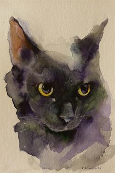 Daily Paintworks - - Original Fine Art for Sale - © Katya Minkina Watercolor Cat, Watercolor Animals, Watercolor Paintings, Watercolors, Abstract Paintings, Art Paintings, Painting Art, Landscape Paintings, Animal Paintings
