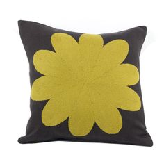 Yellow Big Flower cushion from the Geometric range. Yellow tapestry wool hand embroidered onto grey 100% linen. Available to buy from: http://www.charlenemullen.com