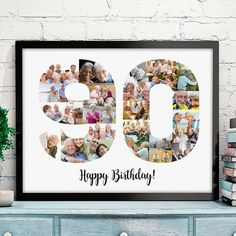 90th Birthday Gift Collage Photo Numbers Poster Anniversary Number Art