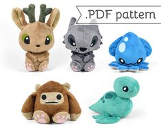Cryptid Animal Sewing Plush .pdf Pattern Collection Bigfoot Yeti Loch Ness Nessie Werewolf Jackalope Kraken